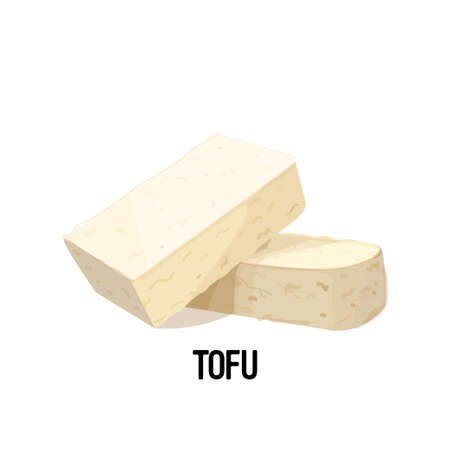 piece of tofu soy bean curd cheese isolated on white background vegan protein concept vector illustration