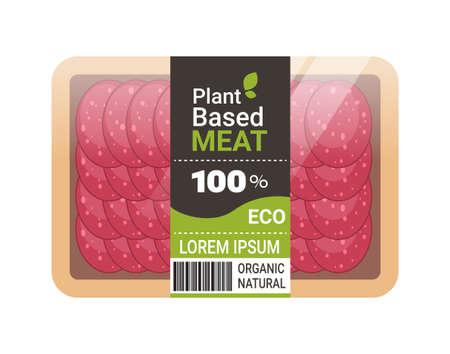 plant based vegetarian salami slices beyond meat in packaging organic natural vegan food concept horizontal copy space vector illustration Vettoriali