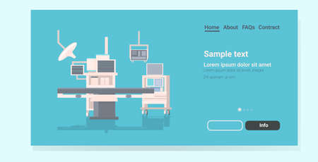 hospital operating table and medical devices modern clinic surgery room equipment intensive therapy surgical procedures concept horizontal copy space vector illustration