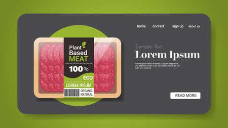 plant based vegetarian salami slices beyond meat in packaging organic natural vegan food concept horizontal copy space vector illustration