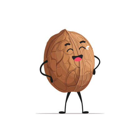 cute walnut character cartoon mascot nut healthy vegetarian food concept isolated vector illustration