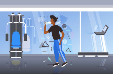african american fitness athlete man drinking water from plastic bottle after workout exercising healthy lifestyle concept modern gym interior horizontal full length vector illustration