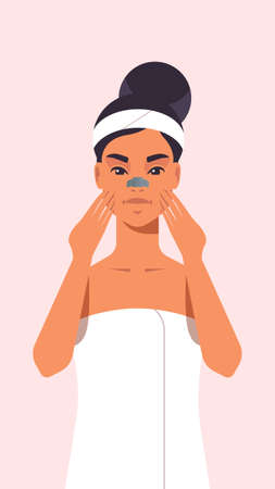 young woman applying skin cream dressed in towel girl cleaning and care her face skincare spa relax facial treatment concept portrait vector illustration Vettoriali