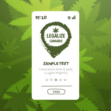 medical natural cannabis or marijuana leaf on smartphone screen hemp legalize drug consumption concept mobile app copy space vector illustration