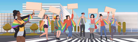 people with rainbow flags holding protest posters blank placards love parade pride festival demonstration concept cityscape background full length horizontal vector illustration