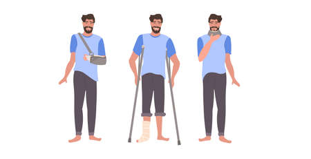 set man with injuries fracture of leg arm and neck damage guy with gypsum and fixing collar broken limbs collection flat full length horizontal vector illustration