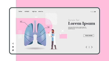 male doctor examining human lungs medical consultation internal organ inspection examination treatment concept horizontal copy space full length vector illustration