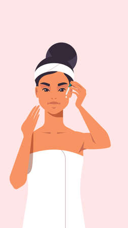 young woman applying eye drop dressed in towel girl with clean fresh skin skincare spa relax facial treatment concept portrait vector illustration