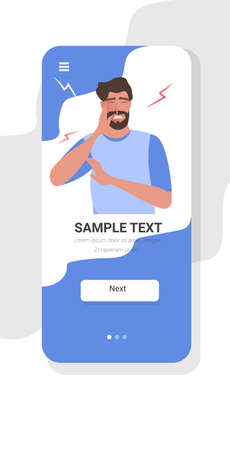 man holding cheek with painful expression guy having terrible toothache smartphone screen online mobile app copy space portrait vector illustration Illustration