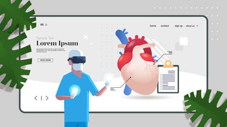 doctor wearing vr glasses anatomical heart human body internal organ examination healthcare medicine virtual reality concept portrait copy space horizontal vector illustration Illustration