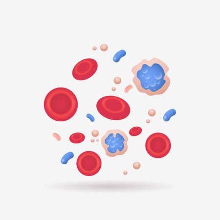 red and blue vein blood cells anatomy human vascular system leukocytes erythrocytes platelets icon biology medicine concept flat vector illustration
