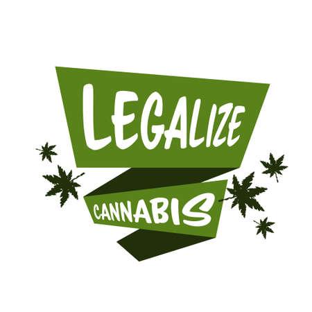 medical cannabis or marijuana leaf badge hemp legalize sticker drug consumption concept vector illustration