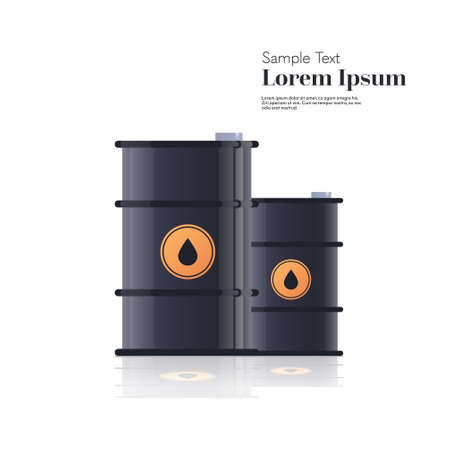 realistic black metal petroleum barrels oil industry concept isolated copy space vector illustration