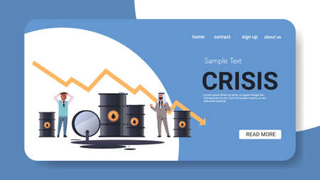 mix race businessmen frustrated about oil poured out of barrels downward chart arrow falling price decrease of petroleum costs crisis concept horizontal copy space full length vector illustration