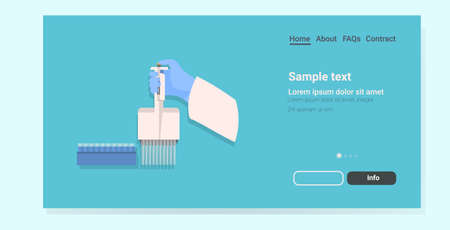 doctor hand in glove holding test tubes holder medical laboratory glassware equipment for chemical experiment horizontal copy space vector illustration