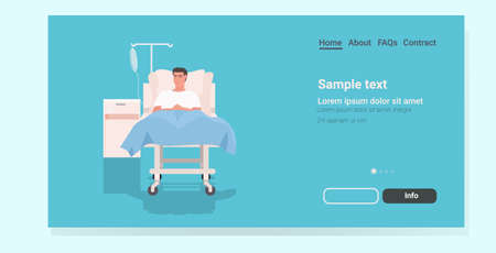 ill man patient lying on bed in hospital ward medicine health care concept full length horizontal copy space vector illustration