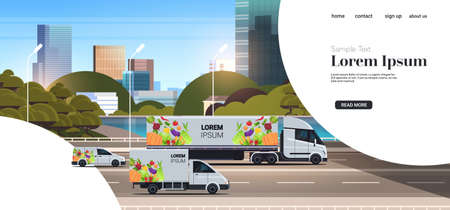 semi truck trailer with organic vegetables on city highway natural vegan food delivery service vehicles with fresh veggies cityscape background horizontal copy space vector illustration