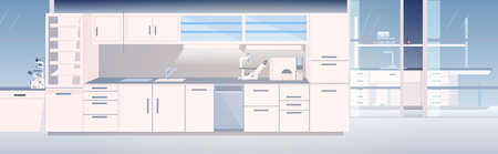 modern lab interior empty no people chemical laboratory with furniture horizontal vector illustration