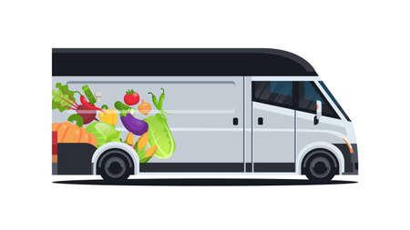 realistic van with organic vegetables natural vegan farm food delivery service vehicle with fresh veggies horizontal flat vector illustration Ilustração
