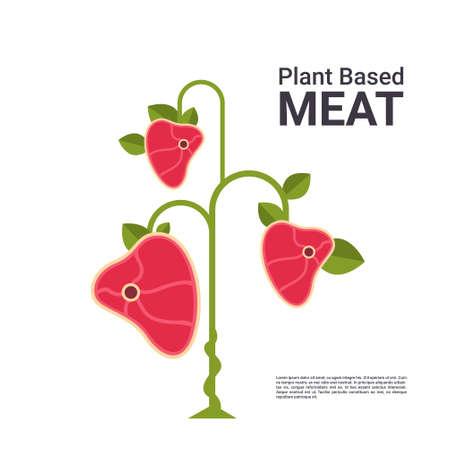 plant based vegetarian steak eco food tree beyond meat organic natural vegan food concept copy space vector illustration