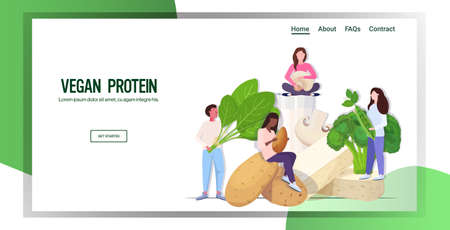 people holding herbs vegetables plant based tofu milk organic dairy free natural raw food healthy nutrition vegan protein concept horizontal copy space full length vector illustration