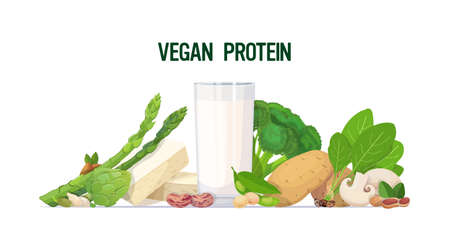 herbs vegetables plant based tofu milk organic dairy free natural raw food composition vegan protein concept horizontal vector illustration