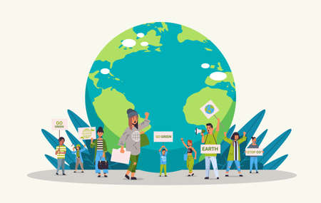 environmental activists holding posters go green save planet concept mix race protesters campaigning to protect earth demonstrating against global warming horizontal full length vector illustration