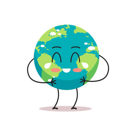 sad earth character crying unhappy cartoon mascot globe personage say no plastic climate change save planet concept isolated vector illustration Stock Vector - 143271221