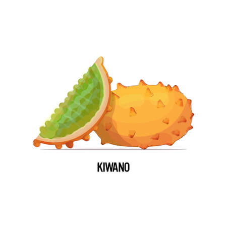 fresh juicy kiwano icon tasty ripe fruit berry isolated on white background healthy food concept vector illustration