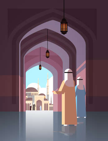 arab people coming to nabawi mosque building muslim religion concept vertical flat full length vector illustration