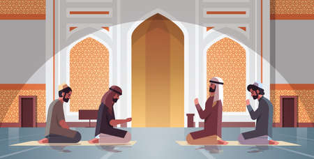 religious muslim men kneeling and praying inside nabawi mosque ramadan kareem holy month religion concept full length horizontal vector illustration