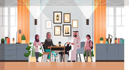 muslim family celebrating ramadan kareem holy month living room interior arabic parents and children in traditional clothes spending time together flat horizontal full length vector illustration