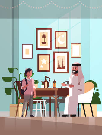 muslim family celebrating ramadan kareem holy month living room interior arabic father and son in traditional clothes spending time together flat vertical full length vector illustration