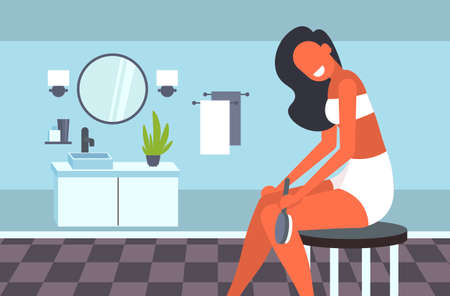 attractive girl massaging skin of her legs with a brush for dry massage cellulite treatment dry brushing skincare concept modern bathroom interior horizontal vector illustration