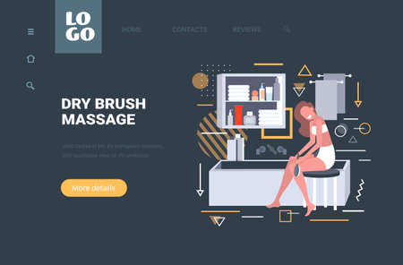 girl massaging skin of her legs with a brush for dry massage cellulite treatment dry brushing skincare concept modern bathroom interior horizontal copy space full length vector illustration