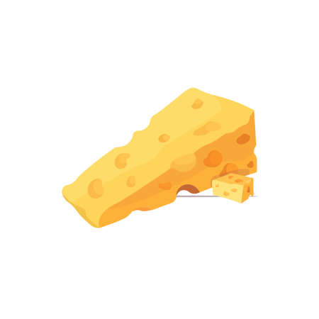 piece of yellow cheese with holes isolated on white background vector illustration  イラスト・ベクター素材