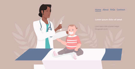 african american pediatrician or otolaryngologist checking baby ear with otoscope medical consultation medicine healthcare concept horizontal copy space vector illustration 写真素材 - 143269230