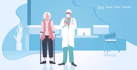 doctor in uniform supporting elderly patient disabled woman Ilustração
