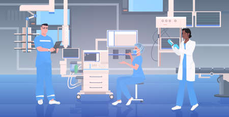medical doctors team in uniform working together in operating room modern hospital clinic interior intensive therapy surgical procedures teamwork concept horizontal full length vector illustration
