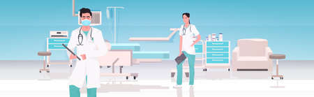medical doctors couple in uniform working together in operating room modern hospital clinic interior teamwork concept horizontal vector illustration