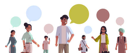 indian men women with chat bubble speech social media communication concept people using online chatting app horizontal portrait vector illustration