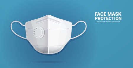 masque facial respiratoire médical antiviral protection contre le coronavirus prévention de la propagation du virus et de la pandémie covid-19 concept chirurgical de soins de santé espace de copie illustration vectorielle horizontale