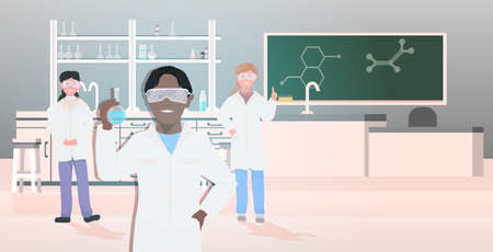 mix race pupils in uniform holding test tubes working in chemical laboratory modern science classroom interior horizontal vector illustration
