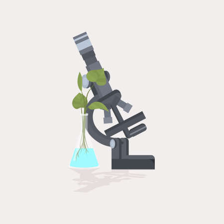 professional medical laboratory microscope plant growing in test tube scientific research equipment biology science education concept vector illustration  イラスト・ベクター素材