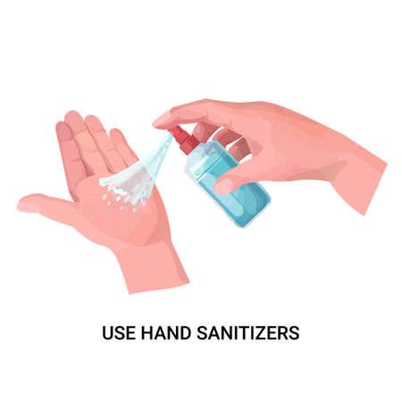 human hands applying antibacterial spray disinfection against virus bacteria stop coronavirus use hand sanitizers concept isolated vector illustration Vecteurs