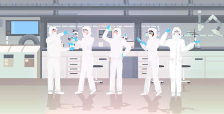 scientists team in hazmat suits holding test tubes working in medical lab mix race researchers making chemical experiments modern laboratory interior horizontal full length vector illustration