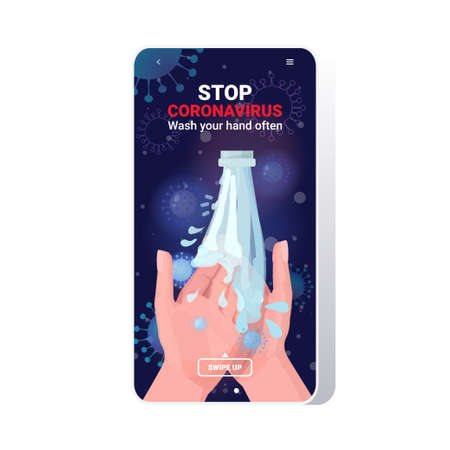 coronavirus protection concept wash your hands often protect yourself prevent covid 19 guidance to stay healthy smartphone screen mobile app copy space vector illustration