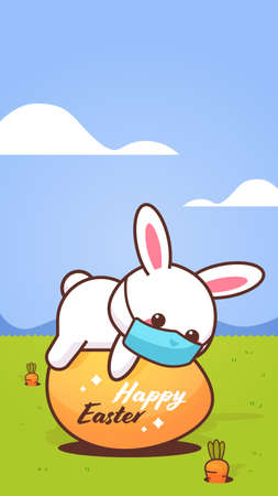 cute rabbit wearing face mask to prevent coronavirus happy easter bunny lying on egg sticker