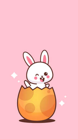 cute rabbit sitting in egg happy easter bunny sticker spring holiday concept vertical