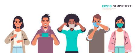 comment porter un masque médical covid-19 protection mix race personnes présentant étape par étape méthode correcte de port du masque pour réduire la propagation du coronavirus illustration vectorielle portrait horizontal Vecteurs